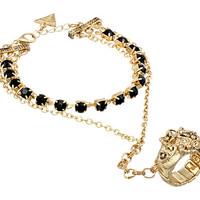 GUESS Rhinestone Bracelet With Roses Ring Combo Gold/Jet - Zappos.com Free Shipping BOTH Ways