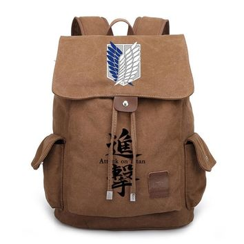 Cool Attack on Titan 2018 New  Canvas Backpack Cosplay no  Wings of Liberty School Bags Bookbag Rucksack Travel Bags AT_90_11