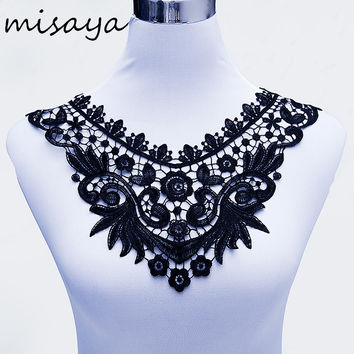Misaya 1pc Milk Silk Black White Lace Neckline Fabric Lace Ribbon Wedding Dress Collar Lace For Sewing Supplies Crafts