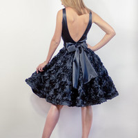 Black Satin Open Back Dress With RosetteEmbroidered by LanaStepul