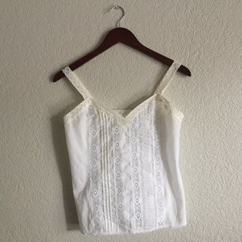 Sheer white vintage tank top