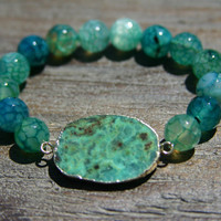 Amazonite Slice and Aqua Agate Bracelet with Gold/teal/aqua/turquoise