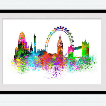 London watercolor poster, London skyline, colorful cityscape print, office decoration, home decor, London poster gift, city wall art,  W112
