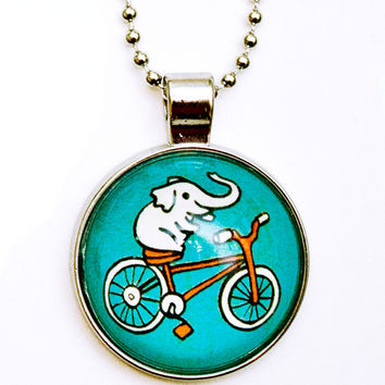 Elephant Bicycle Necklace - Elephant Necklace - Bicycle Necklace
