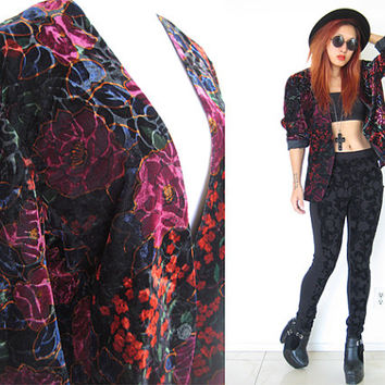 Vintage 80's velvet blazer red black maroon crimson neo romantic floral flower jacket rose grunge new wave punk rock 'n roll