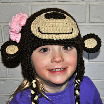 Kids Crochet Monkey Hat, Crochet Baby Hat, Girls Monkey Hat, Animal Hat Crochet, Toddler Girls Hat, Newborn Photography Prop, Girls Crochet