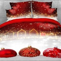 3D Red Christmas Ball Ornaments Printed Cotton Luxury 4-Piece Bedding Sets/Duvet Covers