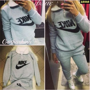 Pants Bottom & Top Fleece Thicken Hoodies Set [15189147667]