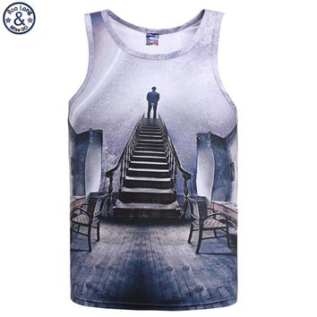 Mr.BaoLong brand New Europe and American 2017 Men/teens Tank tops 3d fashion print A person Space galaxy vest man DB5