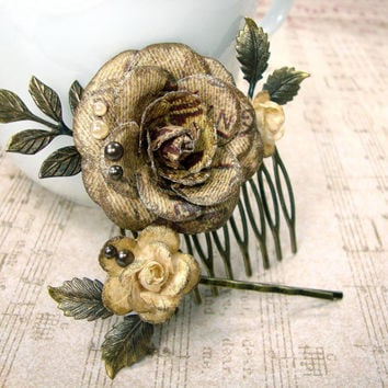 Neo Victorian Floral Hair Comb - Antique Bronze Gold Patina - Vinage Style Steampunk Hair Pin - Rose Bobby Pin - Antique Brass