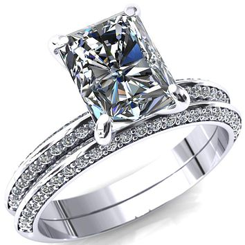 Nancy Radiant Moissanite 4 Prong 1/2 Eternity Diamond Knife Shank Accent Engagement Ring
