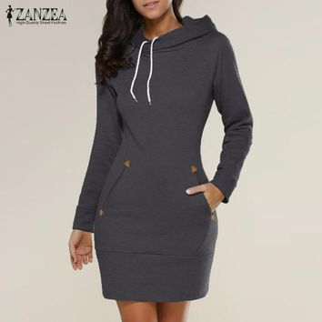 ZANZEA Women Dress 2017 Autumn Winter Hooded Hoodies Sweatshirt Dress Casual Slim Long Sleeve Mini Dresses Plus Size Vestidos