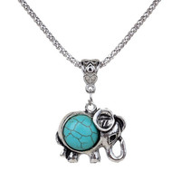 Lovely Necklace Tibet Elephant Shape Round Rimous Turquoise Pendant Chain Jewelry Gift (Color: Green) = 1946481988