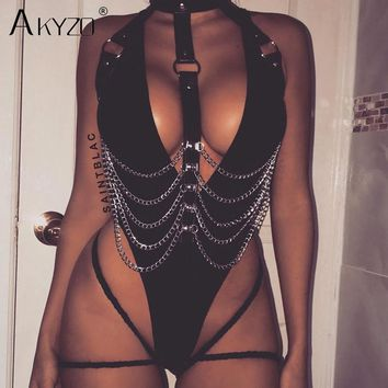AKYZO Fashion Backless PU Tank Tops Women New Arrival Hollow Out Metal Chain Black Nightclub Party Short Crop Top