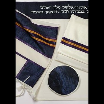 Blue Wool tallit with Gold Stripes