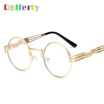 Ralferty Vintage Round Steampunk Sunglasses Women Men Steam Punk Gold Eyewear