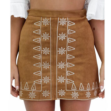 2016 New Black Khaki Empire Tube Suede Skirt Women Plus Size Fashion Mini Basic Skirts Saia