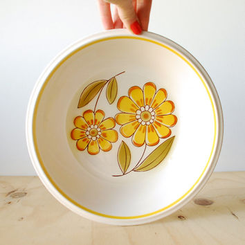 Vintage Mikasa Serving Bowl Yellow Flower Happy Light and Lively