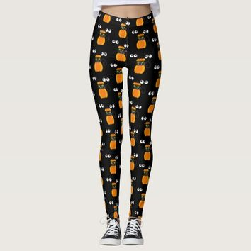 Halloween Theme - Black Cat, Pumpkins and Eyeballs Leggings
