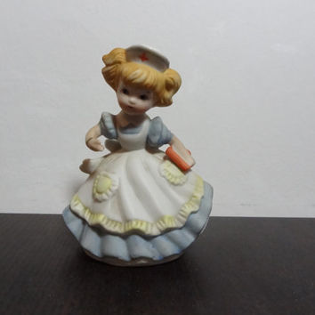 Vintage Enseco Figurine - Nurse in Blue and White Nurses Uniform Holding Medical Chart - Enesco 1979