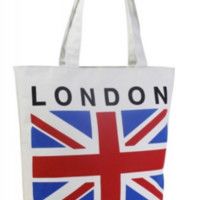 Fresh from London Canvas Tote Bag with Zipper.