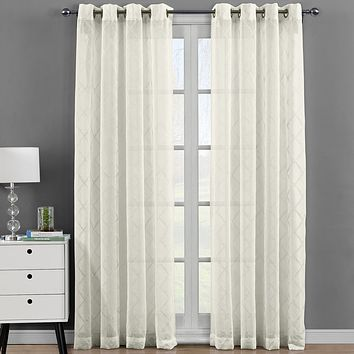 Harvard Embroidered Grommet Top Sheer Panel Curtains Pair (Set of 2 )