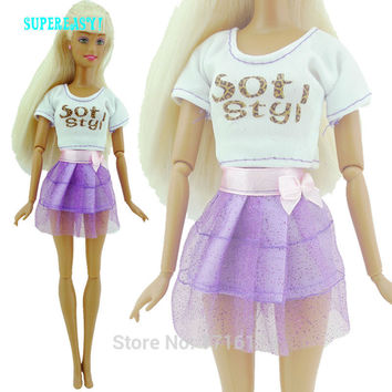 2in1 Handmade Outfit Short Sleeve White Shirt Purple Lace Skirt With Silk Bowknot Summer Clothes For Barbie Doll Girl Toys Gift