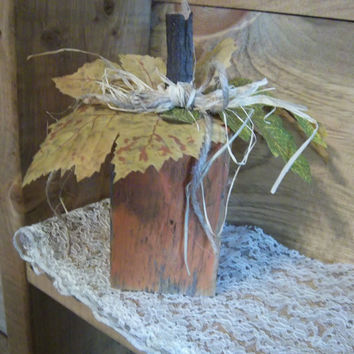 Pumpkin Block-Pumpkin Shelf Sitter-Rustic Pumpkin Decoration-Rustic Fall Decoration-Rustic Fall Decor-Autumn Decoration-Pumpkin Decoration