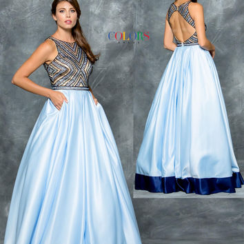Colors 1608 Blue Beaded Halter Top with Pockets Prom Evening Dress