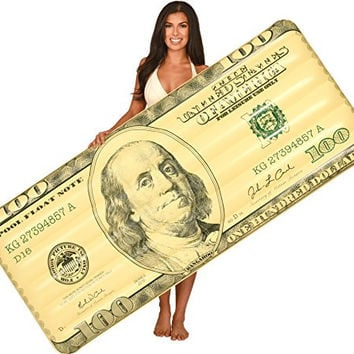 Inflatable Pool Floats; Reversible, $100 Bill, $1 Bill, 7 Ft.