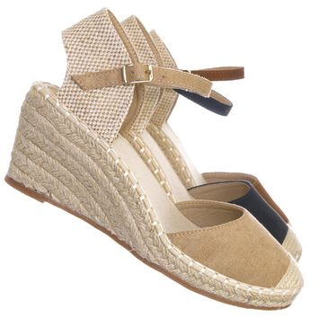 Ana1 Espadrille Platform Wedge Heel Sandal - Women Backless Ankle Strap Cap Toe