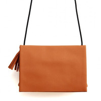 Brown Leather Fold Over Across Body Bag in Brown with Tassel