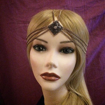 1920's Art Deco style gold antique flapper headchain headband head piece 20s style headpiece head chain piece 1920s 20's hair gatsby