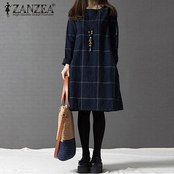 ZANZEA Winter Dress Vestidos 2017 Women Plaid Plus Size 4XL Long Sleeve Cotton Linen Knee-length Casual Dresses Dresses 5 Colors