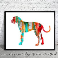 Red Great Dane Watercolor Print, Children's Wall, Art Home Decor, dog watercolor,watercolor painting,animal watercolor, Great Dane dog art
