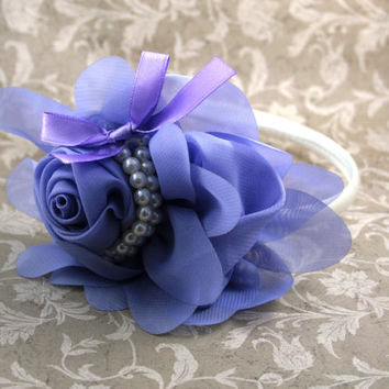 Purple and Pearl Headband, Formal Headband, Flower Girl Headband, Girl Headband, Hard Headband, Photo Prop