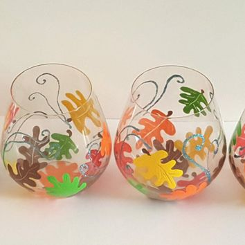 Fall leaves stemless wine glasses, set of four, autumn leaf wine glasses, hand painted wine glasses, high quality wine glass set, gift set