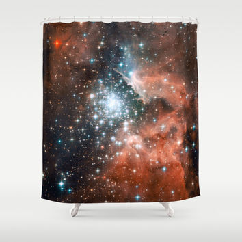 Bright nebula stars galaxy hipster geek cool space Nasa orange nebulae photograph Shower Curtain by iGallery