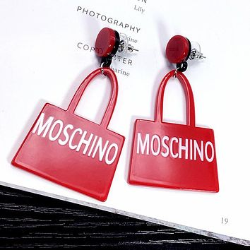 MOSCHINO Classic Catwalk Fashion Women Simple Letter Earrings Accessories Jewelry Red