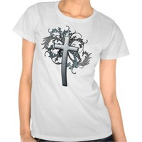 Cross with floral graphics