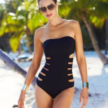 Kenneth Cole Reaction Bandeau Cutout One-Piece Swimsuit | macys.com