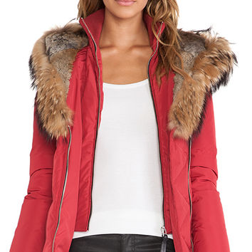 Mackage Akiva Jacket with Asiatic Raccoon and Rabbit Fur Trim in Red