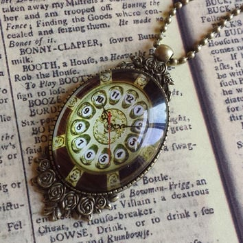 "Clock Face Steampunk Vintage Victorian Style Large Glass & Antiqued Brass Pendant Necklace 27"" Ball Chain #CLK-10"