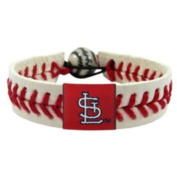 Aminco St. Louis Cardinals Classic MLB Gamewear Leather Baseball Bracelet