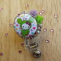 New ID badge Clip holder -Purse clip - Tokidoki Costume Hello Kitty  & Swarovski Crystals Nurse badge clip Retractable Bling Reel Clip