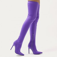 Dazzle Sock Fit Pointed Toe Over The Knee Boots in Purple Stretch