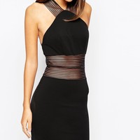 TFNC High Neck Mini Bodycon Dress With Mesh Panel