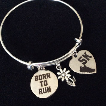 Custom 5K Born to Run Stainless Steel Charms on Expandable Bracelet Adjustable Wire Bangle Trendy Gift