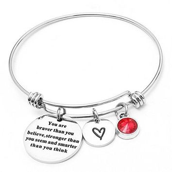 AUGUAU Liuanan Birthstone Jewelry You Are Braver Than You Believe Bangle Bracelets For Women Girls Gift