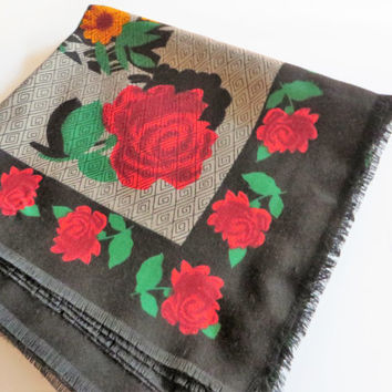Vintage red and black fringed floral scarf